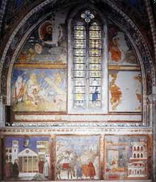 Giotto : Fresques de la quatrième baie de la nef. 1290s. Fresque. Assise, église supérieure Saint François