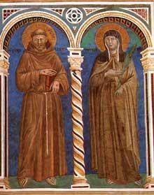 Giotto : Saint François et Sainte Claire. 1279-1300. Fresque. Assise, église supérieure Saint François