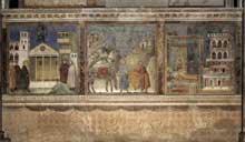 Giotto : Légende de Saint François: Scènes 1 à 3. 1297-1299. Fresque. Assise, église supérieure Saint François
