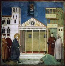 Giotto : Légende de saint François: homage d'un simple homme. 1300. Fresque, 270 x 230 cm. Assise, église supérieure Saint François