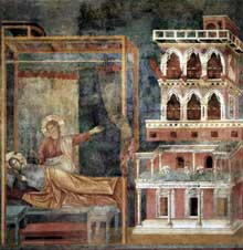 Giotto : Légende de saint François: le songe du Palais. 1297-1299. Fresque, 270 x 230 cm. Assise, église supérieure Saint François