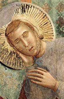 Giotto : Légende de saint François: le songe du Palais, détail. 1297-1299. Fresque, 270 x 230 cm. Assise, église supérieure Saint François