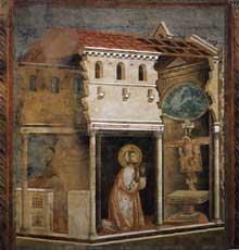Giotto : Légende de saint François: le miracle de la croix. 1297-1299. Fresque, 270 x 230 cm. Assise, église supérieure Saint François