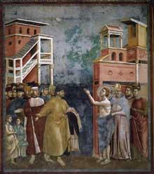 Giotto : Légende de saint François: François renonce aux biens terrestres. 1297-1299. Fresque, 270 x 230 cm. Assise, église supérieure Saint François