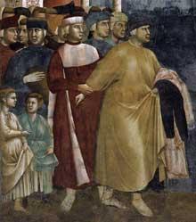 Giotto : Légende de saint François: François renonce aux biens terrestres, détail. 1297-1299. Fresque. Assise, église supérieure Saint François