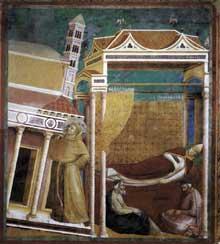 Giotto : Légende de saint François: le songe d'InnocentIII. 1297-1299. Fresque, 270 x 230 cm. Assise, église supérieure Saint François