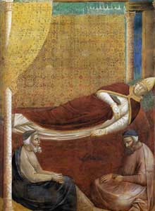 Giotto : Légende de saint François: le songe d'InnocentIII, détail. 1297-1299. Assise, église supérieure Saint François