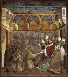 Giotto : Légende de saint François: le pape confirme la règle des franciscains. 1297-1299. Fresque, 270 x 230 cm. Assise, église supérieure Saint François