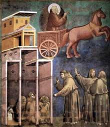 Giotto : Légende de saint François: la vision du Chariot de Feu. 1297-1299. Fresque, 270 x 230 cm. Assise, église supérieure Saint François