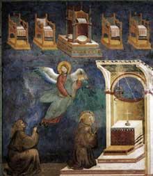 Giotto : Légende de saint François: la vision des trônes. 1297-1299. Fresque, 270 x 230 cm. Assise, église supérieure Saint François