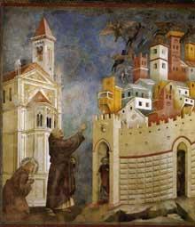 Giotto : Légende de saint François: l'exorcisme des démons à Arezzo. 1297-1299. Fresque, 270 x 230 cm. Assise, église supérieure Saint François