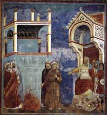 Giotto : Légende de saint François: saint François devant le sultan (le jugement du Feu). 1297-1300. Fresque, 270 x 230 cm. Assise, église supérieure Saint François