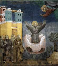 Giotto : Légende de saint François: l'extase de Saint François. 1297-1300. Fresque, 270 x 230 cm. Assise, église supérieure Saint François