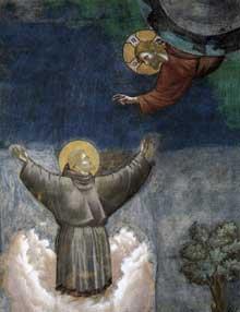 Giotto : Légende de saint François: l'extase de Saint François, détail. 1297-1300. Fresque. Assise, église supérieure Saint François