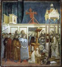 Giotto : Légende de saint François: l'institution de la Crèche à Greccio. 1297-1300. Fresque, 270 x 230 cm. Assise, église supérieure Saint François