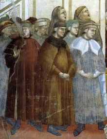 Giotto : Légende de saint François: l'institution de la Crèche à Greccio, détail. 1297-1300. Fresque. Assise, église supérieure Saint François