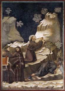 Giotto : Légende de saint François: le miracle de la source. 1297-1300. Fresque, 270 x 230 cm. Assise, église supérieure Saint François