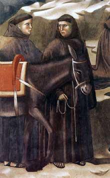 Giotto : Légende de saint François: le miracle de la source, détail. 1297-1300. Fresque. Assise, église supérieure Saint François