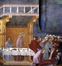 Giotto : Légende de saint François: la mort du chevalier de Celano. 1297-1300. Fresque, 270 x 230 cm. Assise, église supérieure Saint François
