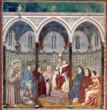 Giotto : Légende de saint François: François prêche devant le pape HonoriusIII. 1297-1300. Fresque, 270 x 230 cm. Assise, église supérieure Saint François