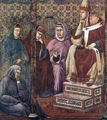 Giotto : Légende de saint François: françois prêche devant le pape HonoriusIII, détail. 1297-1300. Fresque. Assise, église supérieure Saint François