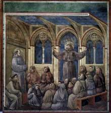 Giotto : Légende de saint François: l'apparition à Arles. 1297-1300. Fresque, 270 x 230 cm. Assise, église supérieure Saint François