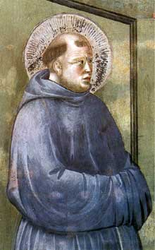 Giotto : Légende de saint François: apparition à Arles, détail. 1297-1300. Fresque. Assise, église supérieure Saint François