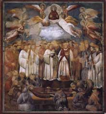Giotto : Légende de saint François: mort et ascension de Saint François. 1297-1300. Fresque, 270 x 230 cm. Assise, église supérieure Saint François