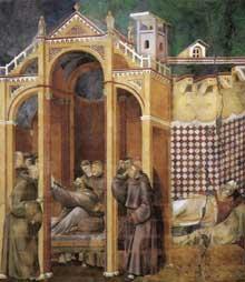 Giotto : Légende de saint François: apparition à Fra Agostino et à l'évêque Guido d'Arezzo. 1300. Fresque, 270 x 230 cm. Assise, église supérieure Saint François