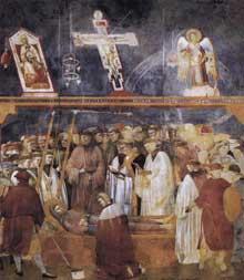 Giotto : Légende de saint François: la vérification des stigmates. 1300. Fresque, 270 x 230 cm. Assise, église supérieure Saint François