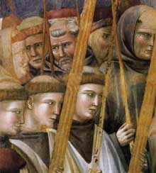 Giotto : Légende de saint François: vérification des stigmates, détail. 1300. Fresque. Assise, église supérieure Saint François