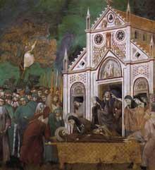 Giotto : Légende de saint François: François pleuré par sainte Claire. 1300. Fresque, 270 x 230 cm. Assise, église supérieure Saint François