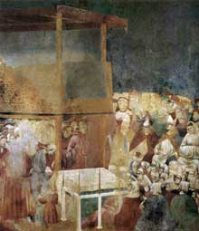 Giotto : Légende de saint François: canonisation de saint François. 1300. Fresque, 270 x 230 cm. Assise, église supérieure Saint François
