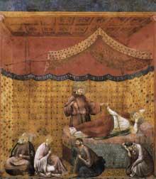 Giotto : Légende de saint François: le rêve de saint Grégoire. 1300. Fresque, 270 x 230 cm. Assise, église supérieure Saint François