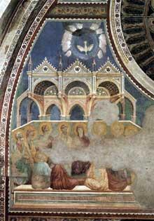 Giotto : Scènes du Nouveau Testament: la Pentecôte. 1290s. Fresque, 500 x 400 cm. Assise, église supérieure Saint François