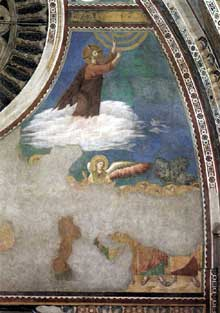 Giotto : Ascension du Christ. Vers 1300. Fresque. Assise, église supérieure Saint François