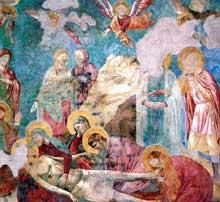 Giotto : Scènes du Nouveau Testament: lamentation du Christ mort. 1290s. Fresque, 300 x 300 cm. Assise, église supérieure Saint François