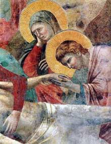 Giotto : Scènes du Nouveau Testament: la lamentation du Christ mort, détail. 1290s. Fresque. Assise, église supérieure Saint François