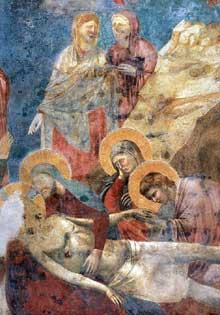 Giotto : Scènes du Nouveau Testament: lamentation du Christ mort, détail. 1290s. Fresque. Assise, église supérieure Saint François