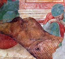 Giotto: Scènes du Nouveau Testament: la Résurrection, détail. 1290s. Fresque. Assise, église supérieure Saint François