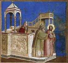 Giotto : Scènes de la vie de Joachim: rejet du sacrifice de Joachim. 1304-1306. Fresque, 200 x 185 cm. Padoue: la chapelle Scrovegni ou chapelle de l'Arena