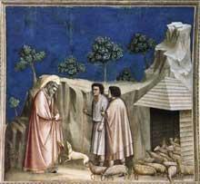 Giotto : Scènes de la vie de Joachim: Joachim parmi les bergers. 1304-1306. Fresque, 200 x 185 cm. Padoue: la chapelle Scrovegni ou chapelle de l'Arena