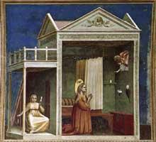 Giotto : Scènes de la vie de Joachim: l'annonce à sainte Anne. 1304-1306. Fresque, 200 x 185 cm. Padoue: la chapelle Scrovegni ou chapelle de l'Arena