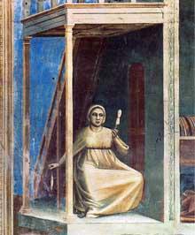Giotto : Scènes de la vie de Joachim: l'annonce à sainte Anne, détail. 1304-1306. Fresque, 89,5 cm de large. Padoue: la chapelle Scrovegni ou chapelle de l'Arena