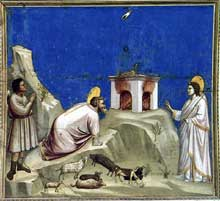 Giotto : Scènes de la vie de Joachim: le sacrifice offert par Joachim. 1304-1306. Fresque, 200 x 185 cm. Padoue: la chapelle Scrovegni ou chapelle de l'Arena