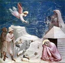 Giotto : Scènes de la vie de Joachim: le rêve de Joachim. 1304-1306. Fresque, 200 x 185 cm. Padoue: la chapelle Scrovegni ou chapelle de l'Arena