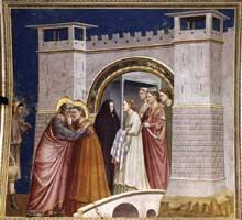Giotto : Scènes de la vie de Joachim: rencontre à la Porte d'Or. 1304-1306. Fresque, 200 x 185 cm. Padoue: la chapelle Scrovegni ou chapelle de l'Arena