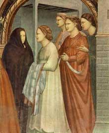 Giotto : Scènes de la vie de Joachim: rencontre à la Porte d'Or, détail. 1304-1306. Fresque, 76,5 cm de large. Padoue: la chapelle Scrovegni ou chapelle de l'Arena