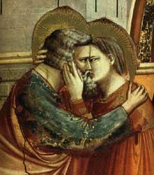Giotto : Scènes de la vie de Joachim: rencontre à la Porte d'Or, détail. 1304-1306. Fresque. Padoue: la chapelle Scrovegni ou chapelle de l'Arena