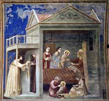 Giotto : Scènes de la vie de la Vierge: la naissance de la Vierge. 1304-1306. Fresque, 200 x 185 cm. Padoue: la chapelle Scrovegni ou chapelle de l'Arena